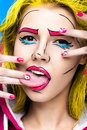 Photo of surprised young woman  with professional comic pop art make-up and design manicure. Creative beauty style. Royalty Free Stock Photo