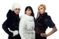 Photo of three women in fur coats Royalty Free Stock Photo