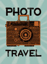 Photo travel vintage camera suitcase retro grunge style poster vector illustration Royalty Free Stock Images
