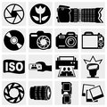 Photo vector icons set isolated on grey background eps file available Stock Images