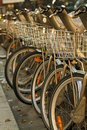 Photo of Velib bikes in Paris Royalty Free Stock Photography