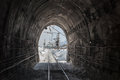 Photo of view from working railroad tunnel Royalty Free Stock Photos