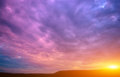 Photo of a violet sunset with clouds and sun Royalty Free Stock Photo