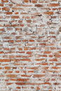 Photo wall with the old brickwork red brick richly painted white paint mesh cement mortar Stock Photos