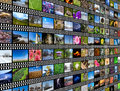 Photo wall of photos in perspective on mm camera film background Royalty Free Stock Image