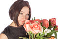 Photo of woman with bouquet of roses Royalty Free Stock Image
