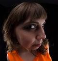 Photo of woman in orange dress, fish eye Royalty Free Stock Photo