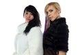 Photo of women in fake fur coats Royalty Free Stock Photo