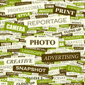 Photo word cloud illustration tag cloud concept collage Stock Photo