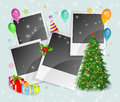 Photo xmas back with tree and box Royalty Free Stock Images