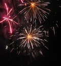 Yellow and red fireworks Royalty Free Stock Photo