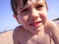 Photo young boy posing close up camera Stock Photography