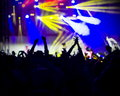 Photo of young people having fun at rock concert active lifestyle fans applauding to famous music band Royalty Free Stock Images
