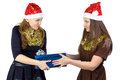Photo of young women with the gift on white background Royalty Free Stock Images