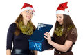 Photo of young women with the present on white background Royalty Free Stock Photos