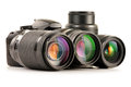 Photo zoom lenses  on white Royalty Free Stock Images
