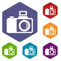 Photocamera icons vector hexahedron