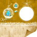 Photoframe christmas background with balls and blank space for writing congratulation cards Stock Photo