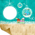 Photoframe christmas postalcard background with children and cute balls and blank space for writing congratulation cards Stock Photo