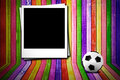 Photoframe and soccer ball Royalty Free Stock Photography