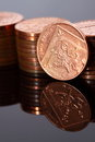 Photograph reflection two pence coins Stock Photos