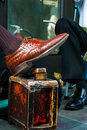 Photograph of a Shoe Shiners own shoe Royalty Free Stock Image