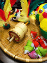 A photograph showing a still life picture of some traditional native toys from asia made from natural materials such as wood Royalty Free Stock Photography