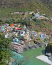 Devprayag - Town at Confluence of Rivers Alaknanda and Bhagirathi - along Ganges - Tehri Garhwal, Uttarakhand, India Royalty Free Stock Photo