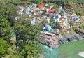 Devprayag - Himalayan Town along Ganges and confluence of rivers Alakananda and Bhagirathi - Tehri Garhwal, Uttarakhand, India Royalty Free Stock Photo