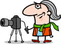 Photographer artist cartoon illustration of funny with camera profession occupation Stock Images