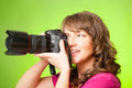 Photographer with camera female taking photos dslr digital Royalty Free Stock Photo