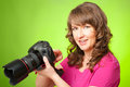 Photographer with camera female taking photos dslr digital Royalty Free Stock Photography