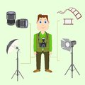 Photographer with camera vector illustration of Royalty Free Stock Photos