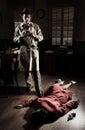 Photographer on crime scene Royalty Free Stock Photo