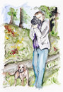 Photographer dog summer forest handmade watercolor painting illustration white paper art background Stock Images