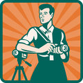 Photographer With DSLR Camera and Video Retro Stock Image