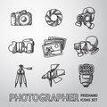 Photographer freehand icons set with - shutter