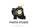 Photographer hands with camera flat illustration for icon or logo template Royalty Free Stock Photo
