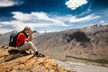 Photographer on the high mountain Royalty Free Stock Photo
