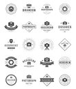Photographer Logo Templates Set. Vector Design Element Vintage Style for Logotype Royalty Free Stock Photo