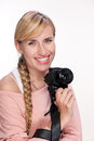 Photographer with photo camera on white Royalty Free Stock Photo