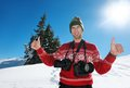 Photographer portrait at winter beautiful day with fresh snow Royalty Free Stock Photo