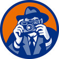 Photographer retro slr camera Stock Photo