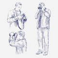 Photographer set hand drawn vector illustration realistic sketch Royalty Free Stock Images