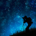 Photographer shooting stars Stock Photos
