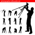 Photographer silhouette set Royalty Free Stock Photo
