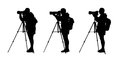 Photographer silhouettes set of three realistic of a shooting with a teleobjective lens on a tripod Stock Photo