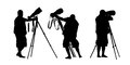 Photographer silhouettes set of three realistic of a shooting with a teleobjective lens on a tripod and installing it on the beach Stock Photos