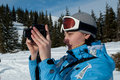 Photographer in snow mountains Stock Photos