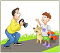 Photographer spealing with boy funny speaking on the road Stock Photography